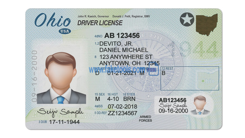 Real and fake Ohio driver's license for sale